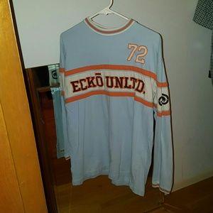 Baby Blue & Orange Sz L Ecko Unltd long sleeve